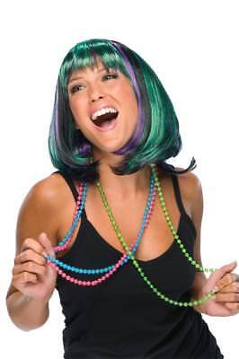 Mardi Gras Wig Green Purple Black Short Bob With Bangs](Mardi Gras Wigs)