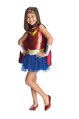 Girls Wonder Woman Tutu Costume Dress Superhero Size Medium 8-10](Womens Superhero Tutu Costumes)