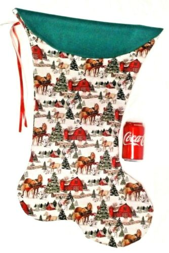 GIANT CHRISTMAS STOCKING HORSES COUNTRY CHRISTMAS PRINT, HANDMADE & NEW