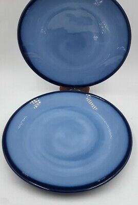 2 SANGO NOVA BLUE Dinner Plates Stoneware 4934 Vintage Dinnerware RARE 10.5