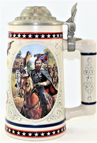 """Longton Crown """"Heroes Of The Civil War"""" Collectible Beer Stein Tankard A0148 COA"""