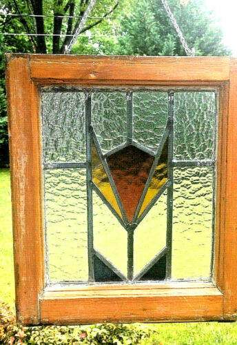 Antique Tulip Design Stained Glass Window Red-Yellow-Blue Colors