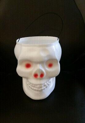 Empire Plastic Blow Mold White Skull Skeleton Halloween Candy Bucket Red Eyes
