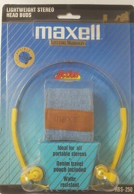 Maxell Stereo Head - Maxell Yellow Lightweight Stereo Head Buds Denim Carrying Pouch Collapsible