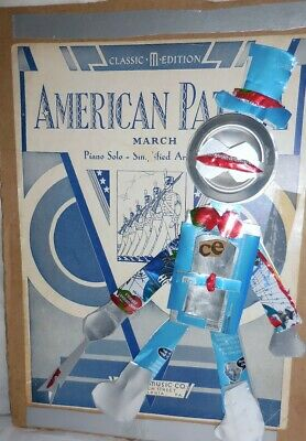 Robot Collage Pop Soda Can Soldier  OOAK