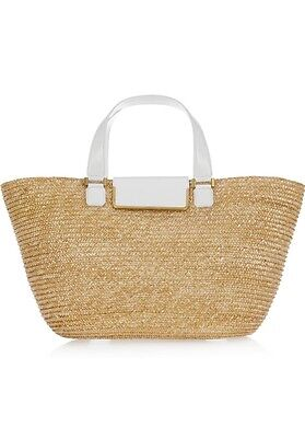 $895 Jimmy Choo Capri Small Glitter Straw Tote Bag Neutral w/White Flap Closure (Bag Small Tote Flap)