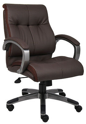Lot Of 4 Brown Leather Mid Back Conference Room Office Chairs