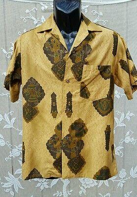 VTG Hawaiian Shirt Tiki Metallic Print Congo Drums Atomic Era  1950s-60s L  image