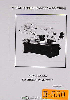 Birmingham Model 330 330a Metal Cutting Band Saw Operations And Parts Manual