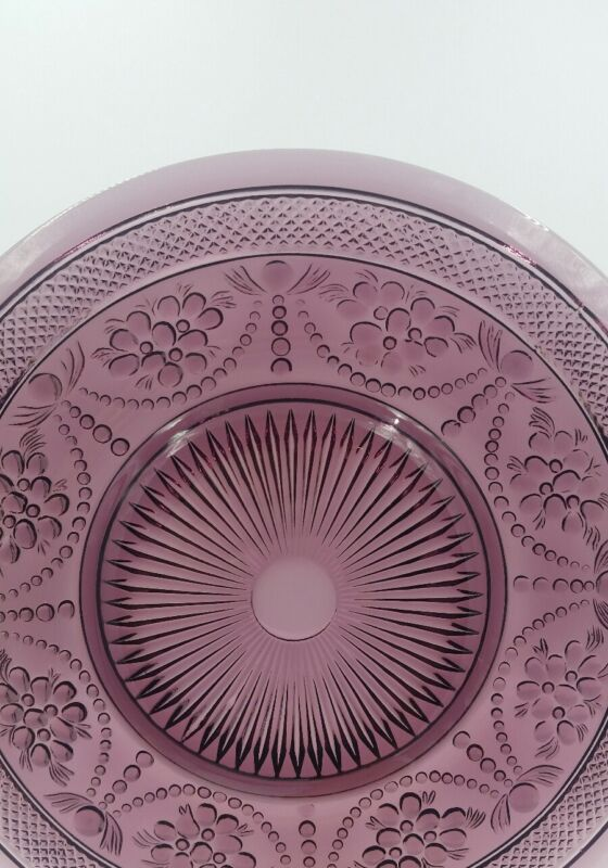 (1) Imperial Glass CHROMA  Amethyst Purple Plate Garlands,Flowers- Sunburst