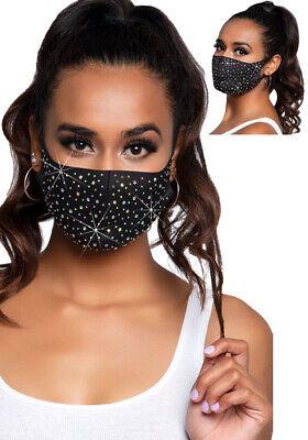 Mundschutzmaske Gesichtsmaske Maske Damen schwarz schimmernde Strasssteine