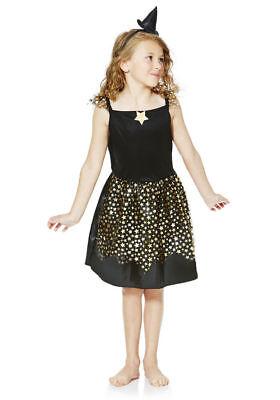 Hexe Zauberin Mädchen Kostüm Sternen Karneval Kleid und Haarreif mit Hut 98 104