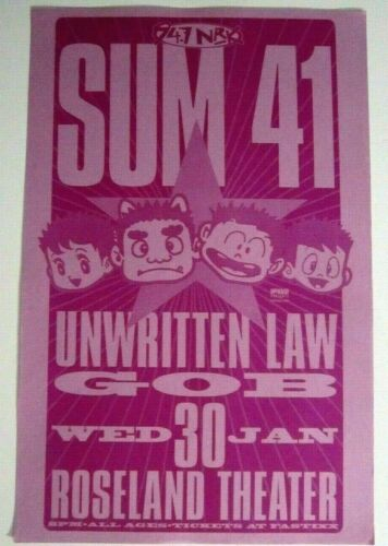 SUM 41 Original 2002 Portland Oregon Concert Poster w/ Unwritten Law and GOB