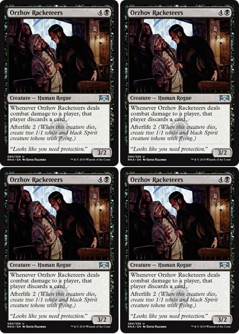 4x Orzhov Racketeers Ravnica Allegiance Mtg Black Creature Human Rogue Unc Ebay The orzhov syndicate is the ravnican guild of business. ebay