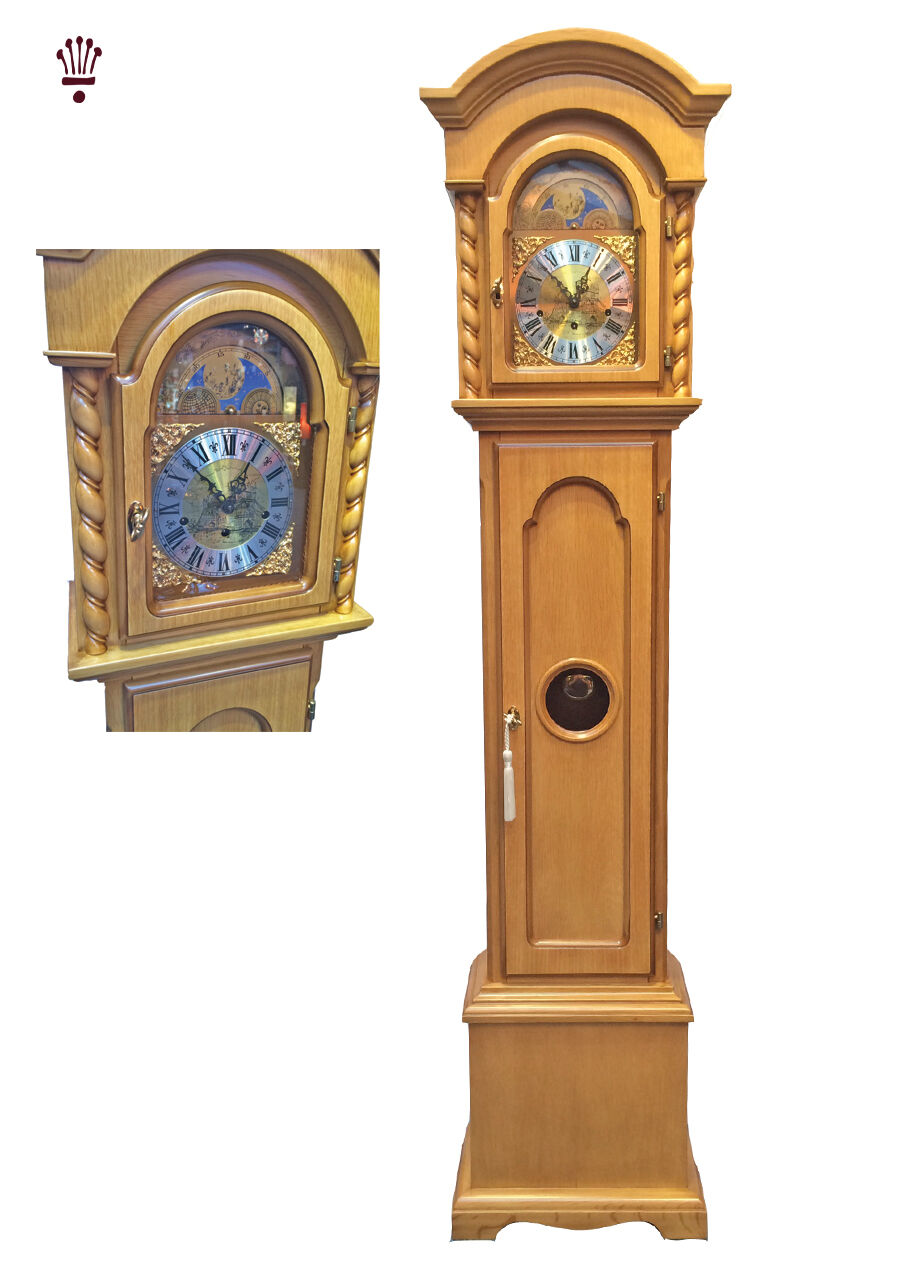 Billib Corinthian Grandmother Clock Mechanical Moondial Chime Light