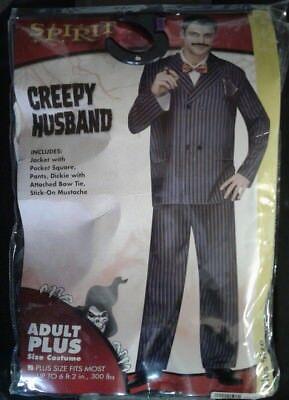 Spirit Creepy Husband Adult Plus Size Halloween Costume Jacket, Pants, Dickie  - Spirit Halloween Plus Size Costumes
