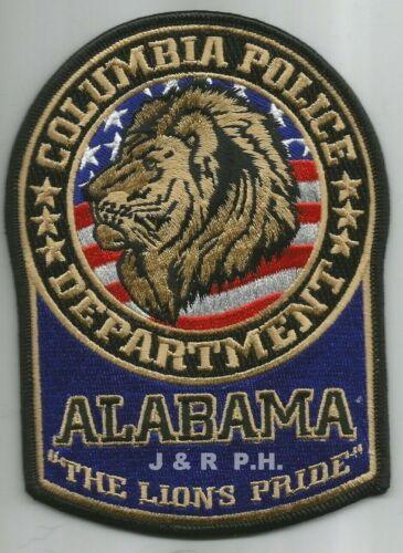 "Columbia  ""Lions Pride"", Alabama  (4"" X 5.5"")  shoulder police patch (fire)"