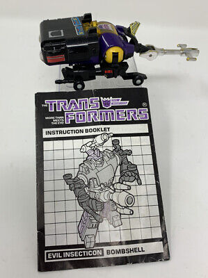 Vintage 1985 Hasbro G1 Transformers Insecticon BOMBSHELL w/ Instruction Sheet