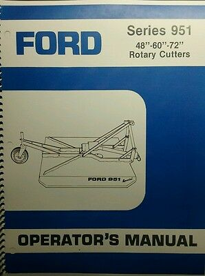Ford 951 3-point Hitch Brush Field Mower Owner Parts Service Manual Tractor