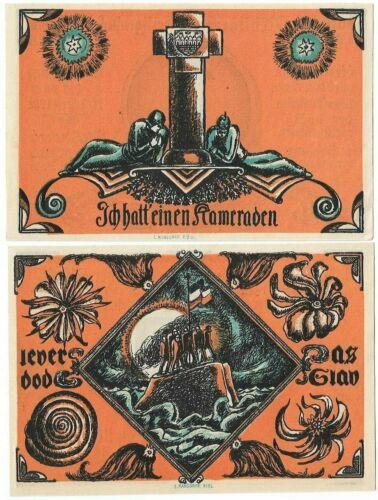 **1922 HEILIGENHAFEN Germany- WW1 SOLDIER ~ Complete UNC Set German Notgeld