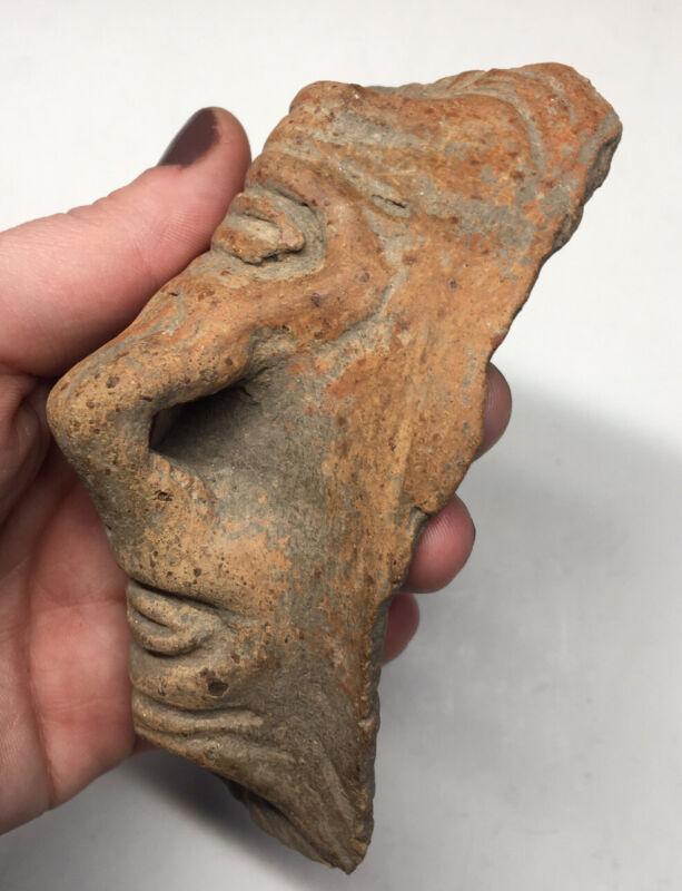 Pre-Columbian Terracotta Vessel Glyphic Human Pottery Fragment Ancient Artifact