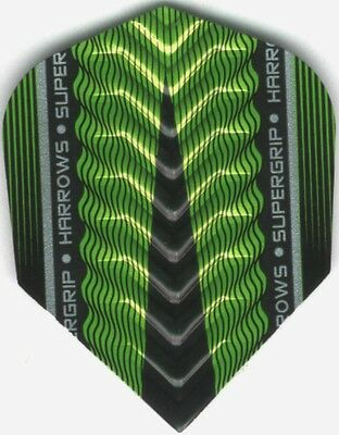 Green HARROWS SUPERGRIP-X Dimplex Ribs Dart Flights: 3 per set
