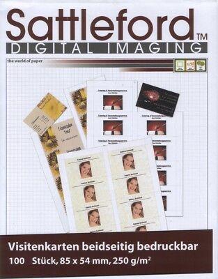 100 Visitenkarten Sattleford blanco 85 x 54,  250 gramm