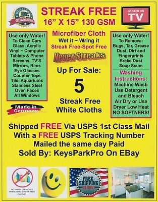 5 Streak Free MicroFiber Cleaning Cloths FREE! 1st Class Mail Made in Germany!