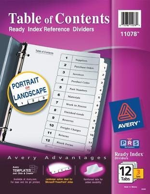 Avery Ready Index Durable Table Of Contents Dividers 12 Tabs 3 Sets 11078