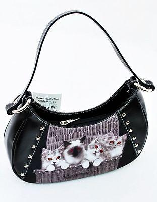 Katzen Tasche Handtasche Design Smile-Bags Schwarz Kitten Cat Neu OVP