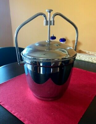 Vintage Silver Plate Ice Bucket, Thermos Insert, Swing Top Lid Tub  Ice Bucket Insert
