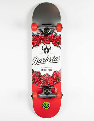 """Darkstar In Bloom 7.25"""" Red Youth First Push Soft Wheels Skateboard Complete New"""