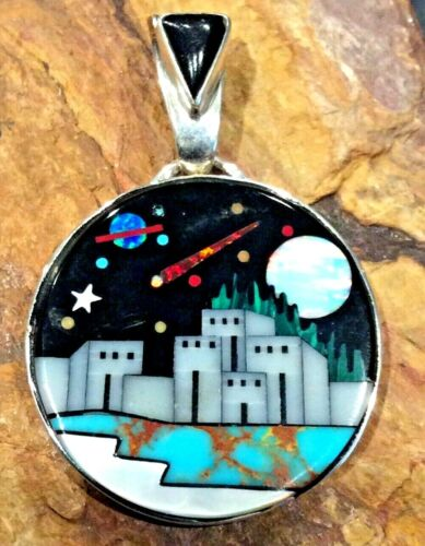 Native American Indian Jewelry Sterling Silver Micro Inlay Pendant Signed
