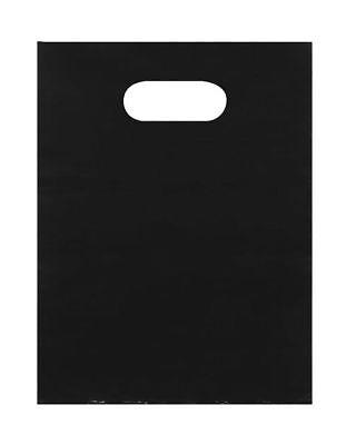 Plastic Bags 1000 Black Shopping Merchandise Die Cut Handles 9 X 12 Diecut
