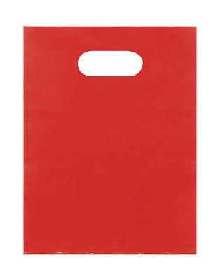 Plastic Bags 1000 Red Shopping Merchandise Die Cut Handles 9 X 12 Diecut