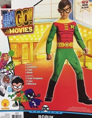 Robin Costume Boys Large 10-12 Teen Titans Go NWT New Cape Red Black Green Mask