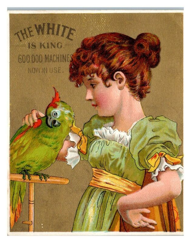Young Girl and Pet Parrot, White Sewing Machine Victorian Trade Card *VT24