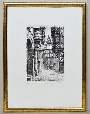 Original Radierung Bernkastel Gasse handsigniert Reiter Stadt Stadtansicht Bild