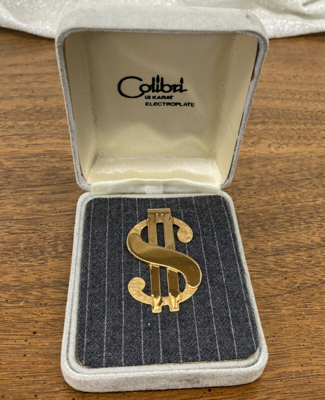 Colibri 18K Electroplate Dollar Sign Older Money Clip in Original Box