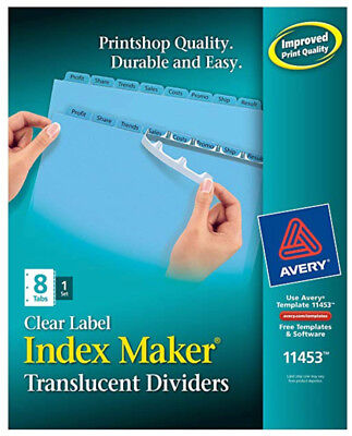 Lot Of 2 Sets Of Avery Index Maker Translucent Dividers 8 Tabs Per Set