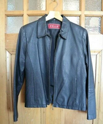 Retro Vintage Womens Real Black Leather Jacket with Zip Size 12