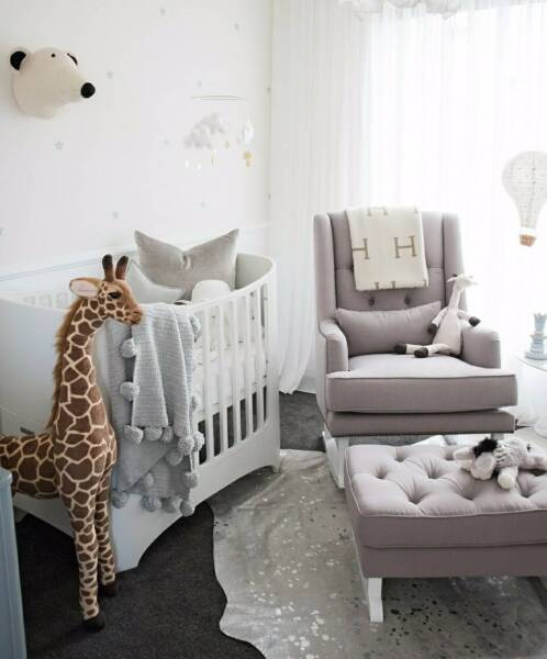 Lovely Grey Or White Fabric Rocking Chair Nursery Baby Feeding
