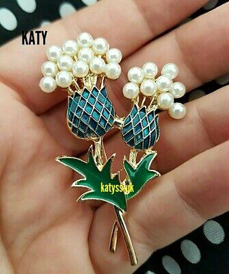 Vintage Style Thistle Flower Pearls Gold Enamel Scottish Brooch Pin Blue Green