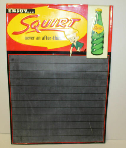 Antique Squirt Soda Tin Advertising Chalk Menu Board Sign – 1959 Dated