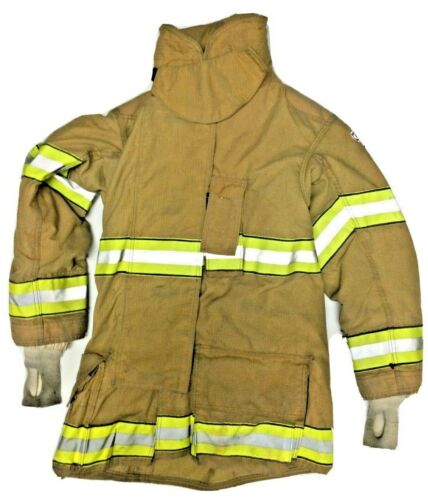 40x35 Globe Gxtreme Firefighter Brown Turnout Jacket Coat with Yellow Tape J879