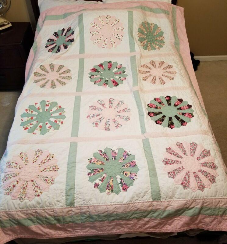 """Handmade Quilt Blanket 83"""" x 65"""" Multi Color Flower Design"""