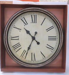 Large 20 inch Round Iron Frame Vintage Look Glass Face Roman Numeral Wall Clock