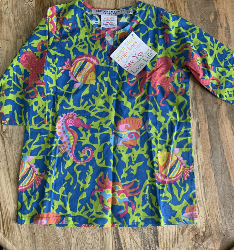 GRETCHEN SCOTT Tunic Swimsuit Cover Up Dress Blue Green Pink Seahorse Girls 2/4