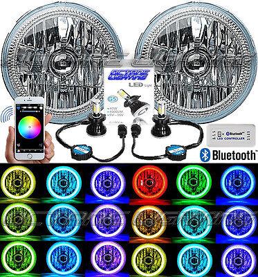 "7"" Bluetooth Phone RGB SMD Color Change Halo Angel Eye H4 40w LED Headlight Pair"