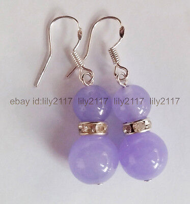 Fashion 8mm &12mm natural purple jade round Gems Beads Silver Dangle Earrings AA Jade Purple Earrings